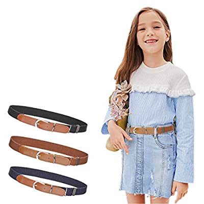 "3Pcs AWAYTR Toddler Belts for Boys - Elastic Adjustable Belt with Brown Leather Loop (Navy blue/Brown/Black, Pant Size: 20""-26"")"