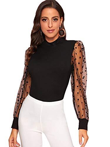 SOLY HUX Women's Polka Dot Sheer Mesh Long Sleeve Stretchy Top Blouse Black XL