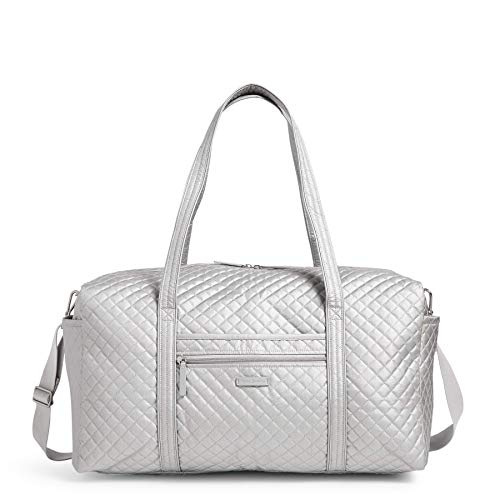 Vera Bradley Women's Signature Cotton Travel Duffel Bag, Silver Pearl, Large 22'