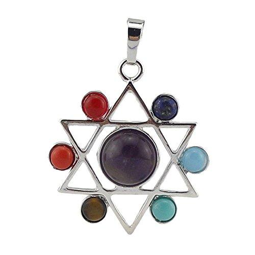 Contever 7 pierres Chakras Reiki Guérison Équilibrage Pendentif Alliage insérer Perles naturelles Cristal Précieuses pour Collier Bijoux -- Hexagramme Style