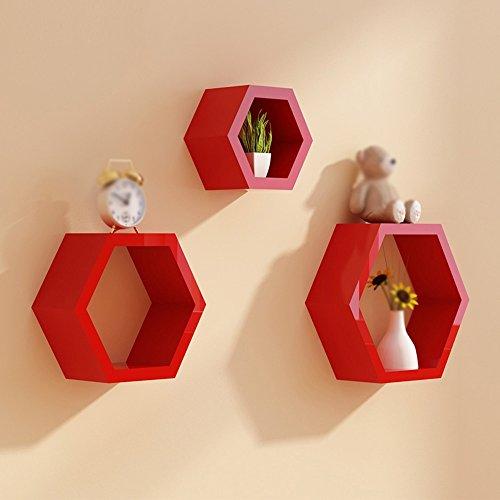 Dongyd Ensemble Flottant de Support de Mur Flottant de Combinaison, gestionnaire de Stockage de ménage de Support d'affichage Hexagonal en Bois (Jeu de 3) (Color : Red)
