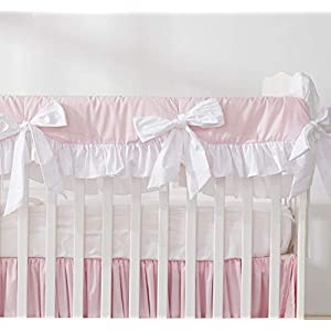 Brandream Crib Rail Cover for Girls Princess Pink Long Front Crib Rail Guard with White Ruffle, Solid Baby Teething Crib Warp Prefect for Girls Nursery, 100% Cotton