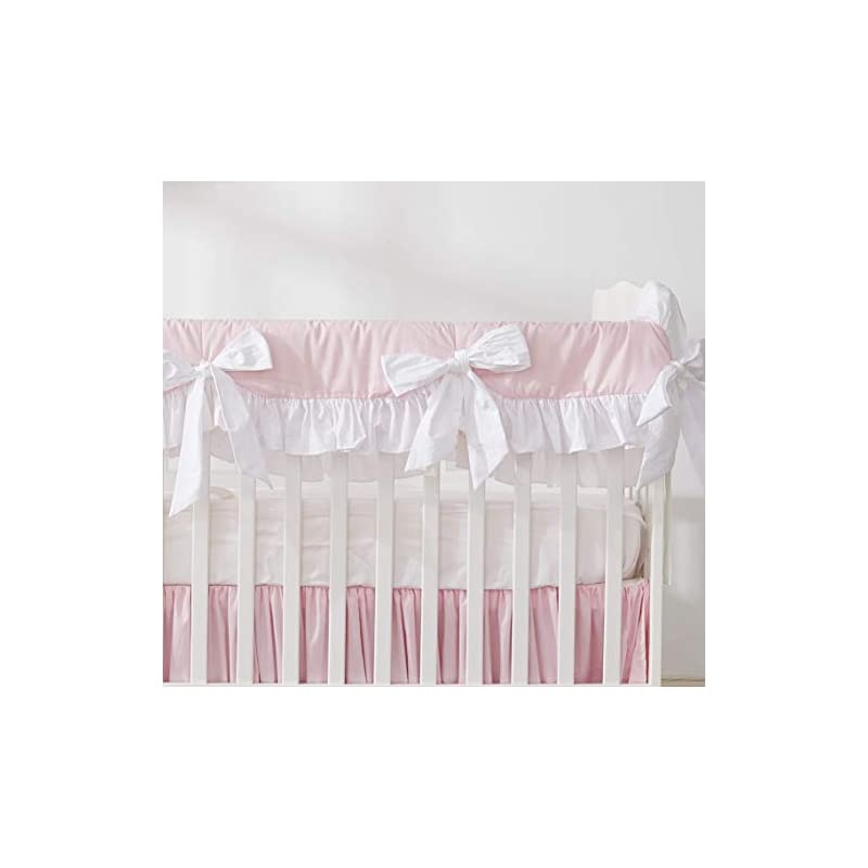crib bedding and baby bedding brandream crib rail cover for girls princess pink long front crib rail guard with white ruffle, solid baby teething crib warp prefect for girls nursery, 100% cotton