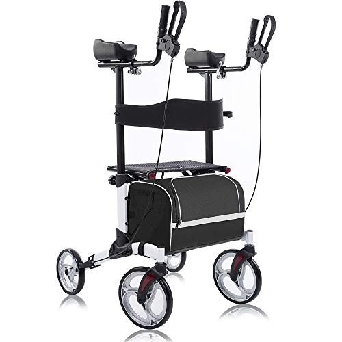 """BEYOUR WALKER Upright Walker, Stand Up Rollator Walker Tall Rolling Mobility Walking Aid with 10"""" Front Wheels, Seat and Armrest for Seniors and Adults, White"""