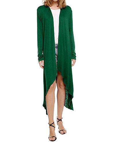 Femmes 1pc Chandail Cardigan à Asymétrique Manche Longue Tricot Manteau De Veste De Outwear Vert XL