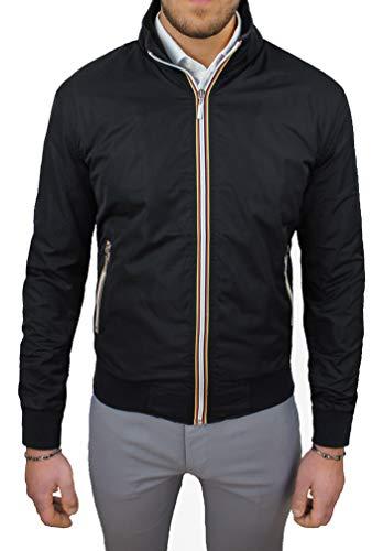 Evoga Giubbotto giacca uomo casual primavera estate giubbino moto slim fit (Nero, m)