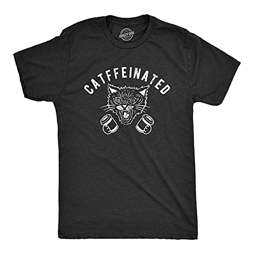 Mens Catffeinated Tshirt Funny Cat Caffeine Coffee Lover Graphic Novelty Tee (Heather Black) - S