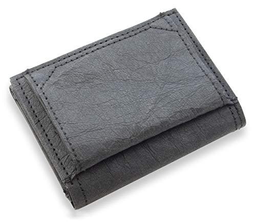 JOELWALLETS | Edition Trifold, handgefertigte Geldbörse aus robustem Kraftpapier, Kleiner und Leichter Geldbeutel, Doppelnaht, NFC- und RFID Schutz [schwarz] (Schwarz)
