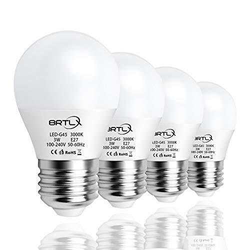 BRTLX G45 LED Lampen E27 3W Warmweiß 3000K 25 W Glühbirne Entspricht 150° Abstrahlwinkel 240lm Nicht Dimmbar 4er Pack