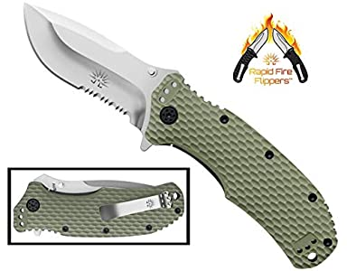 Off-Grid Knives - OG-220S - Rapid Fire Camping & Hunting Folding EDC Knife, Cryo Japanese AUS8 Combo Blade with Tough & Grippy Fiberglass Reinforced Nylon (FRN) Handle & All-Position Mounting Clip