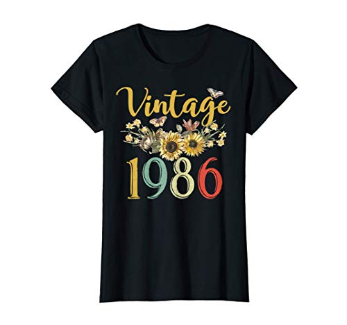 Mujer Vintage 1986 Sunflower 34th Birthday Awesome Since 1986 Camiseta