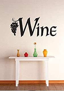 Wine Grapevine Kitchen Dining Image Quote Vinyl Wall Decal Sticker Color : Black Size : 16x40