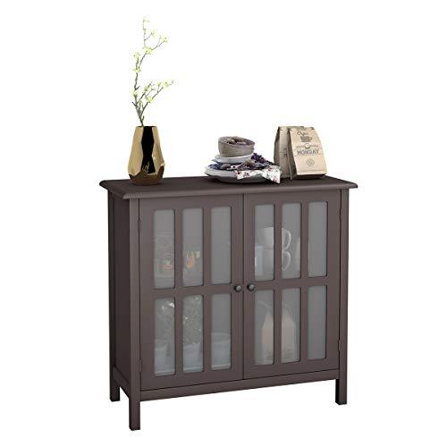 COSTWAY Sideboard, Konsolenschrank mit Glastür, Anrichte für Küche, Badezimmer, Wohnzimmer, Schlafzimmer, Homeoffice (Braun)