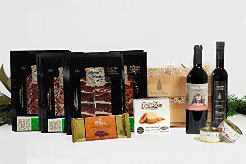 Cesta Gourmet - Jamón e ibéricos de Guijuelo - Pates de Campaña - Aceite AOVE Premium - Queso Cremosito Premio al mejor queso del mundo - Vino Tinto - Turrón.