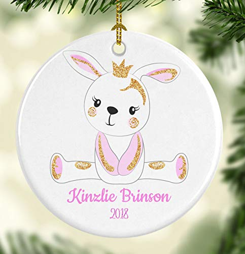 DKISEE Bunny Ceramics Ornament Personalized For Christmas Christmas Thanksgiving New Year Gift Tree Party Decoration 3.1 inch