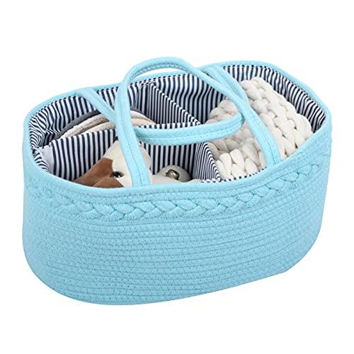 Ishine Organizador de bebé con cuerda de algodón, multifuncional, bolsa de almacenamiento para pañales de bebé, cesta de almacenamiento con compartimentos intercambiables, regalo para recién nacidos