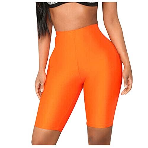 Pantalones Cortos Deportivos de Satén Shorts Casual Yoga para Mujer Pantalón de Deporte Transpirables Elásticos Leggins Push Up de Cintura Alta Leggings Ideal para Correr Gym Fitness