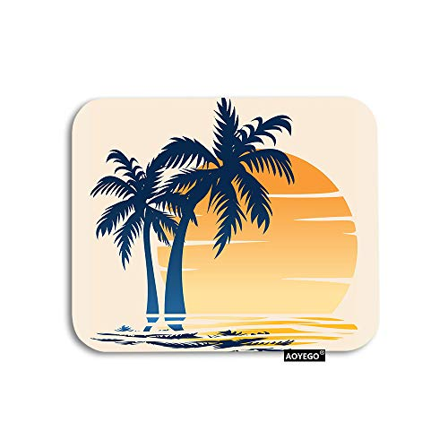AOYEGO Coastal Mouse Pad Palm Tree Ocean Sea Waves Summer Beach at Sunset Gaming Mousepad Rubber Large Pad Non-Slip for Computer Laptop Office Work Desk 9.5x7.9 Inch