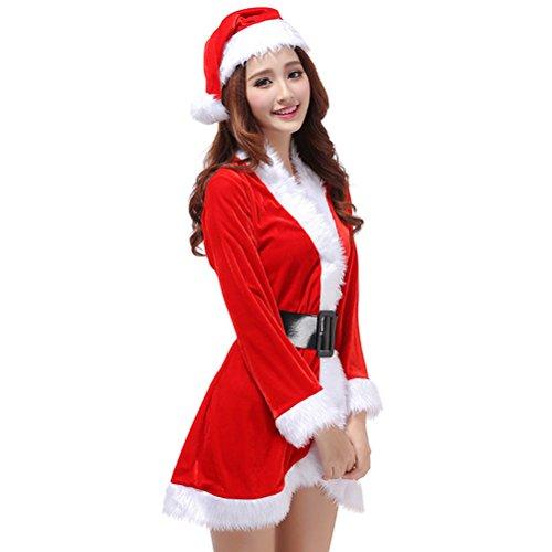 Tinksky, costume da donna di Babbo Natale, 3 pezzi, per cosplay, XMAS, (taglia libera)