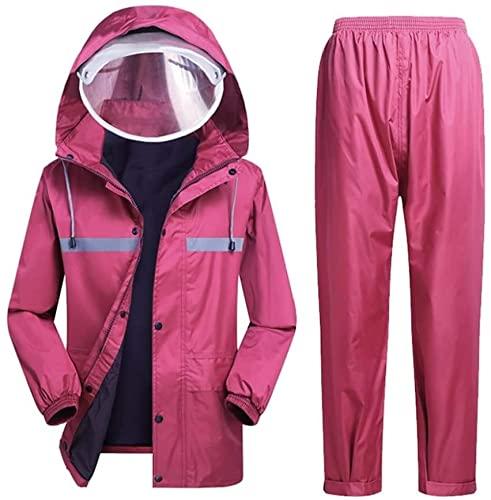Traje de lluvia para hombres mujeres impermeable chaqueta pantalones impermeable conjunto de alta visibilidad impermeable impermeable impermeable con capucha trabajo motocicleta golf pesca (M)