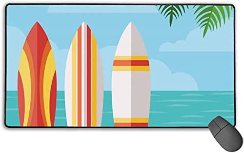 Alfombrilla de ratón de goma antideslizante de Summer Beach y tablas de surf, alfombrilla de ratón para gaming, 40 x 75 cm