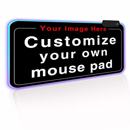 Personalized RGB LED Gaming Mouse Pad Make Your Own Customized Gaming Mousepad Custom Mouse Mat for Office Dorm Personalised Gifts Presents for Gaming Lovers, 23.6x13.8in