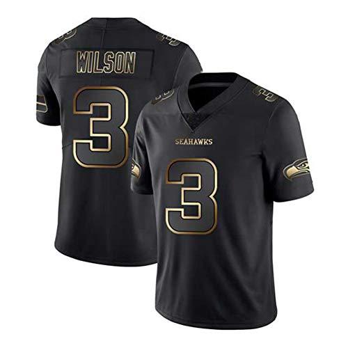 Russell Wilson Nr. 3 Seattle Seahawks Fußballtrikot, Besticktes Trikot Unterstützertrikot Fan-Sweatshirt Schnelltrocknendes Netztrikot, S-3XL-black-XL