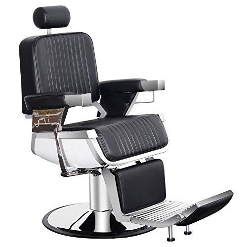 BarberPub All Purpose Heavy Duty Vintage Hydraulic Recline Barber Chair Salon Beauty Spa Styling Equipment 2009 (Black)