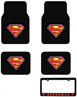 5-Piece Automotive Gift Set: 4 Floor Mats, and 1 License Frame - Super Man