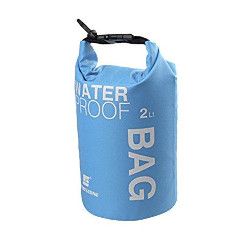 Bolsa impermeable ideal para acampada, kayak, pesca, rafting o piragüismo, color azul, tamaño 2 L
