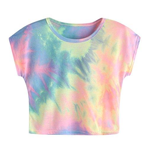 Amlaiworld Damen Sommer Strand Happy T-Shirt elegant Mädchen Niedlich pullis Mode Farbverlauf bauchfrei Oberteile Sport locker Gemütlich Bluse (S, MehrfarbigA002)