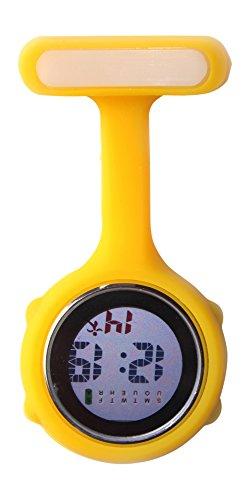 Ellemka - Krankenschwestern Pfleger Chefs   Digitale Anzeige Ansteckuhr Taschenuhr   Digitales Quarzuhrwerk   Hängeband aus Silikon mit Pinnadel   JCM-330 - Gelb Yellow OVP