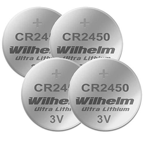 4 x CR2450 WILHELM Lithium Knopfzelle 3V 600mAh ø24,5x5,0mm Batterie DL 2450