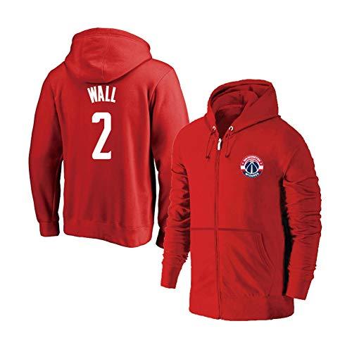 YUNAN Herren Basketball Jersey Hoodie Washington Wizards #2 John Wall Kapuzenpullover Zipper Training Jersey für Sport und Freizeitkleidung rot-XXXL