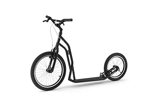 Yedoo S2620 Tretroller - bis 130 kg, Kickscooter mit Luftreifen 26/20 - Big Wheel Roller Scooter für Erwachsene, Dogscooter (schwarz)