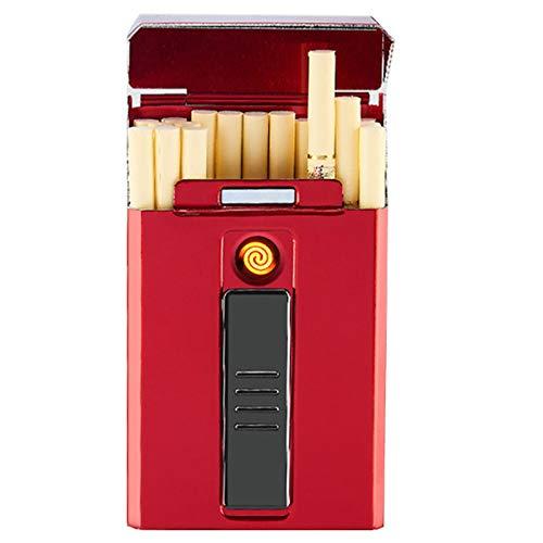 Pitillera Cigarrillos Mujer Caja De Con Encendedor Caja De Cigarrillos Portátil 20...