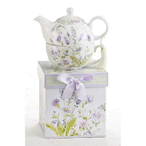 Delton 5.8 Inch Porcelain Tea for One, Lavender Rose