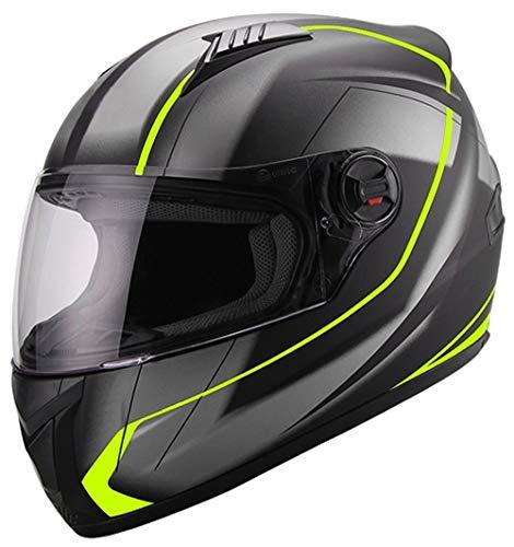 ZALA Integralhelm Helm Motorradhelm Neon Gelb Grün Schwarz Matt S M L XL Größe L (A,M)