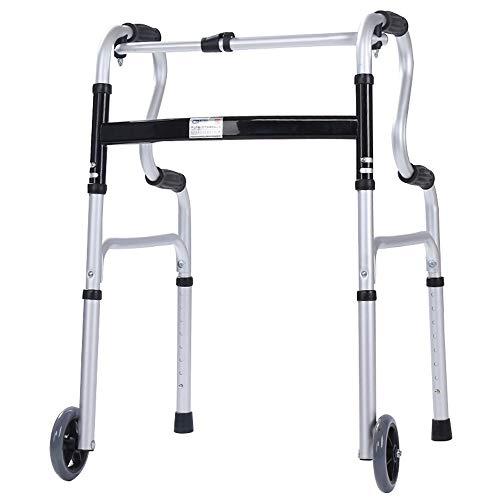 Silla de Ruedas Wheelchair Sillas de Ruedas Andador Permanente Auxiliar Ajustable del Marco Que Camina De La Altura, Plegable, Llevando 100kg (Color : No Sitting Board)