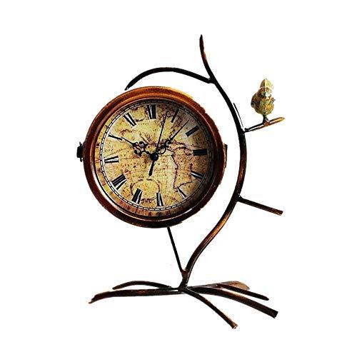 Reloj de Mesa Reloj de Mesa Vintage for Sala de Estar decoración operación Metal Rama pájaro Romano Digital batería Reloj de Mesa Antiguo Retro (Color : Brass, Size : 33x24 cm)