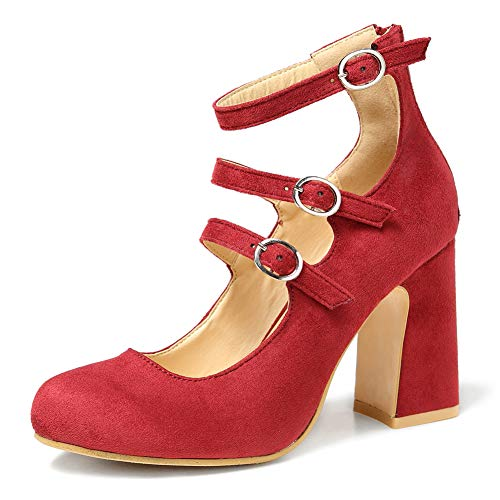Enelauge Women's Fashion Three Buckle Closed-Toe Mary Jane Chunky High Heels Dress Pump Velvet Red 39-7 US