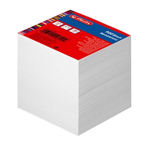 Herlitz Notizklotz Blanko Geleimt mit Deckblatt, 1 Stück in Folienpackung, 900 Blatt, 9 x 9 cm, weiß