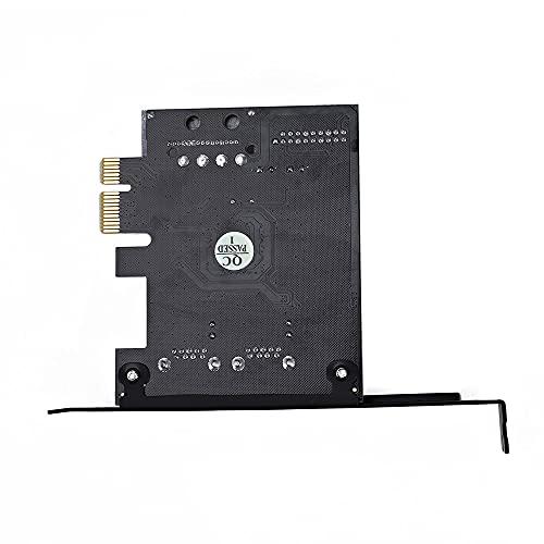 Joliy Tarjeta USB 3.0 a PCI Express Tarjeta de expansión Externa de 2 Puertos Adaptador Interno de 19 Pines Base del Conector de alimentación SATA de 15 Pines