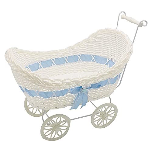 Boy Blue Gift Storage Basket Wicker Style Pram Hamper New Born Baby Shower Present Christmas Birthday Xmas Bedroom Decor