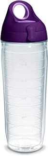 Tervis 1225888 Clear & Colorful Insulated Tumbler with Purple Lid 24 oz Water Bottle Tritan Clear