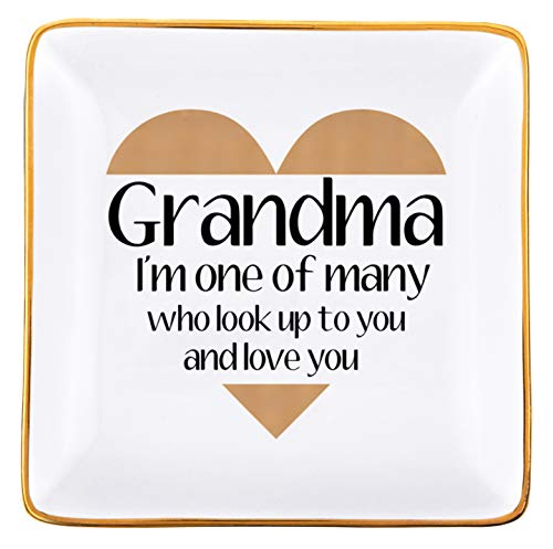 RELISSA Birthday Gifts for Grandma Trinket Dish, Mother's Day for Grandma Jewelry Dish Ring Holder Jewelry Organizer, Hanukkah Gift for Grandma, Grandma Christmas Gifts, Gift for Grandma from Grandkids, Valentine's Gift for Grandma from Granddaughter