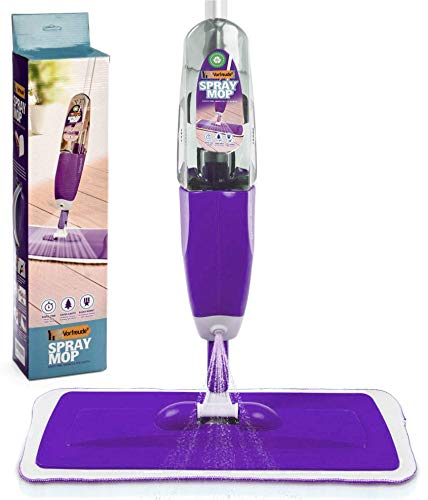 Vorfreude Floor Mop with Sprayer, Cleans All Floors, Refillable 700ml Bottle, Reusable Machine Washable Microfibre Pads (Purple)
