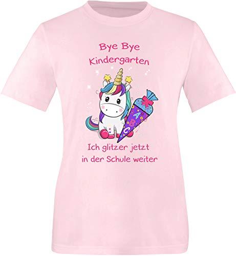 EZYshirt® Bye Bye Kindergarten ich Glitzer jetzt in der Schule | Einschulung Schulanfang 2020 Einhorn T-Shirt Kinder