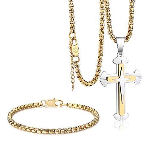 UAGXFC Collar Único Juego de Joyas para Hombres S Caja Enlace Cruz Colgante Collar Pulsera Conjunto de Acero Inoxidable Joyería Religiosa Regalo
