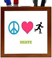 Rikki Knight Peace Love Skate Design 5-Inch Tile Wooden Tile Pen Holder (RK-PH41784) [並行輸入品]